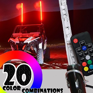4ft LED Whip Light w/ Flag 20 Colors Wireless Remote Lighted
